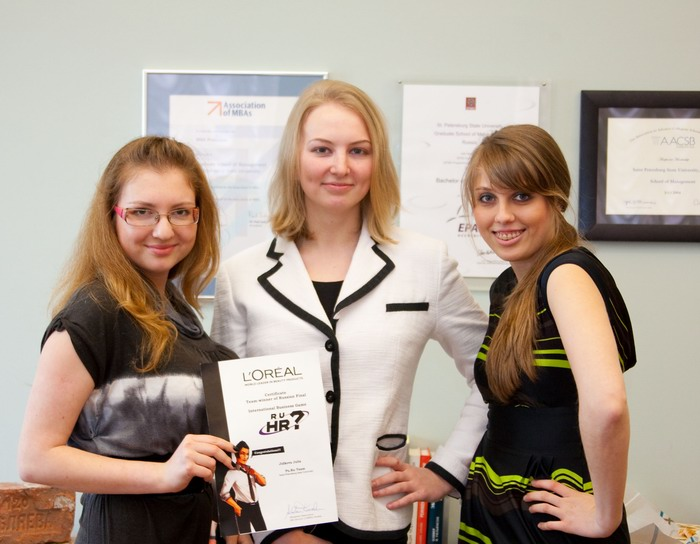 The GSOM team - Ekaterina Geta, Anna Sheverdiaeva and Julia Jidkova, Ist year Master in International Business students - became the winner of the  international business game